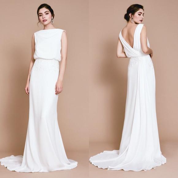 Tadashi Shoji Dresses Ivory Blouson Lilo Wedding Dress 6 Poshmark